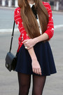 Red-forever-21-cardigan-black-mango-bag-navy-forever-21-skirt