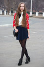 Black-mango-bag-red-forever-21-cardigan-navy-forever-21-skirt