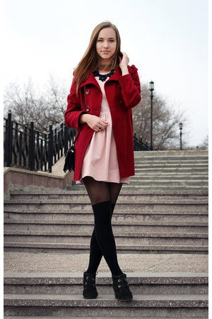 light pink Zara dress - brick red Forever 21 coat - black Mango necklace