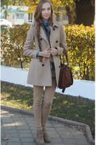 tan Mango boots - neutral Stradivarius coat - brown Bershka bag
