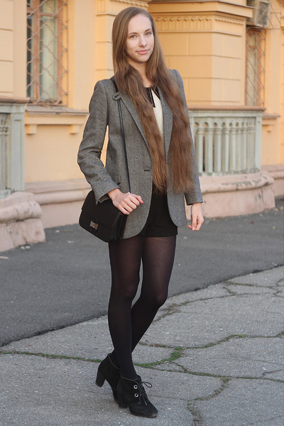 heather gray Mango blazer - black Mango bag - black Forever 21 shorts