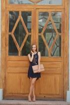 neutral Massimo Dutti shoes - navy BLANCO dress - neutral BLANCO bag