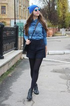 black Zara shorts - blue Choies sunglasses