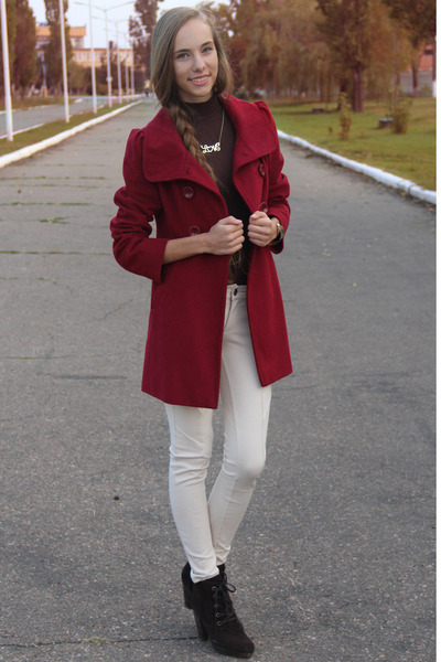 brick red Forever 21 coat - dark brown Mango boots - ivory Bershka pants