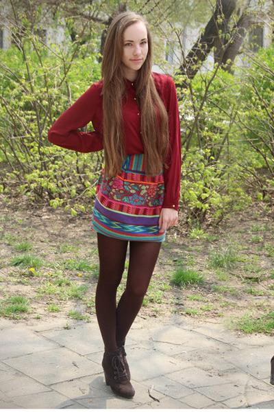 Mango boots - asos skirt - Forever 21 blouse