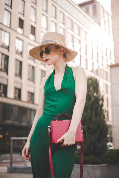 vintage hat - coffer bag red Mango bag - Love romper