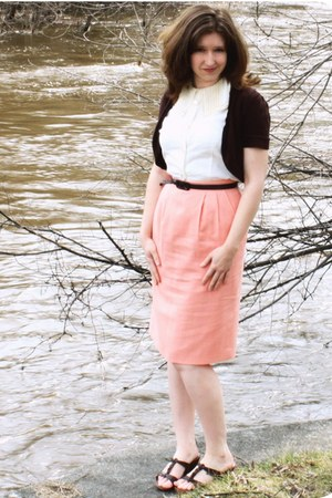 salmon vintage from etsy skirt - cream vintage from Ebay blouse - dark brown spe