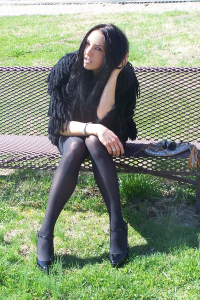 black Topshopop jacket - black H&M stockings - blue Forever 21 - black Hale Bob