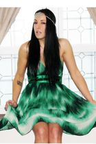 green Forever21 dress - vintage necklace - black Juicy Couture boots - white H&M