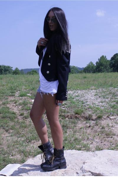 black grunge vintage boots - michael jackson DIY blazer