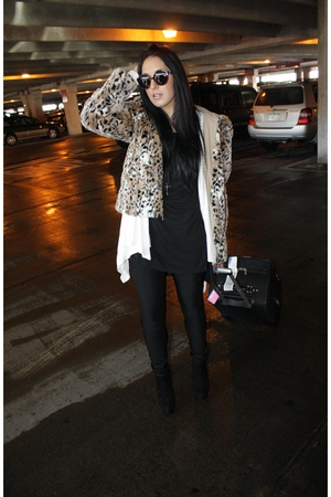 vintage coat - Topshop shoes - Proenza Shouler sunglasses - Alexander Wang shirt