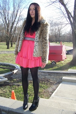Go International dress - Hot Topic belt - faux coat - sam edelman shoes
