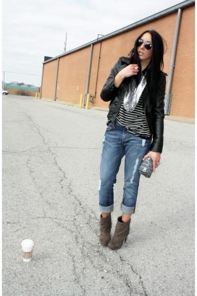 brown Steve Madden boots - Dylan & George jeans - black Forever 21 jacket