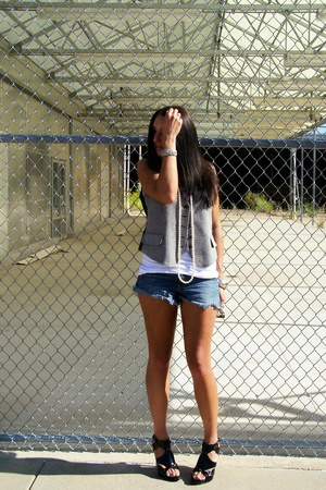 Wet Seal necklace - shorts - Velvet shirt - vintage accessories