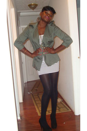 green i dont noe jacket - white italian dress - black For Love shoes