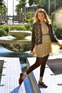 Brown-loafers-modcloth-dress-brown-belt-earrings-cardigan