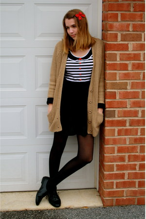 black hand made dress - tan Urban Outfitters sweater - black oxfords Target flat