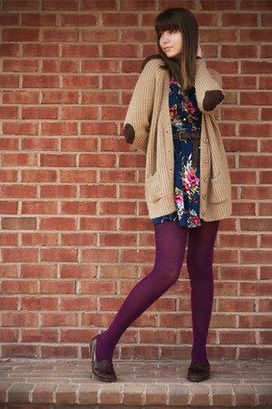 camel Urban Outfitters cardigan - navy modcloth dress - magenta Target tights