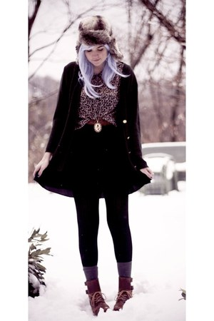 forest green thrifted cardigan - brown j shoes boots - black Forever 21 skirt