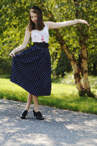 navy polka dotted thrifted skirt