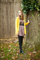 yellow thrifted cardigan - black floral Forever21 dress
