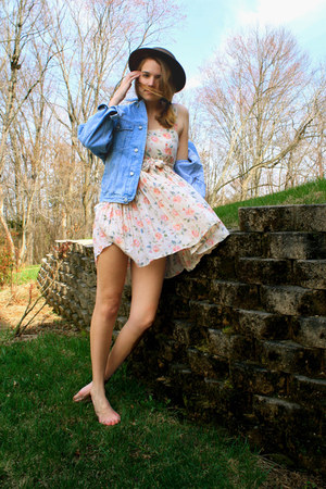 sky blue vintage jacket - eggshell floral handmade dress - brown thrifted hat