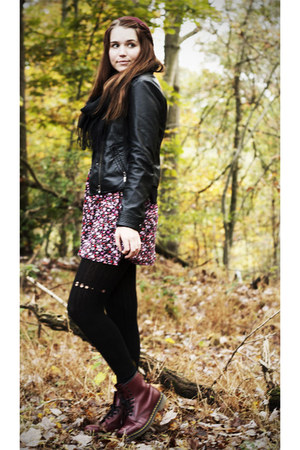 crimson Dr Martens boots - pink Forever 21 dress - black modcloth jacket