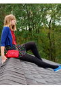 Red-chanel-bag-red-thrifted-blouse-blue-keds-shoes-black-forever-21-skirt-