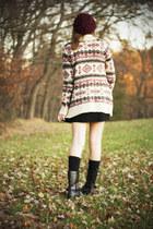 black DSW boots - black Forever21 dress - crimson H&M hat