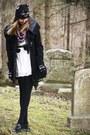 White-forever-21-dress-black-bb-dakota-coat-bubble-gum-khols-scarf