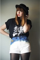 navy DIY shorts - black vintage hat - black Urban Outfitters t-shirt