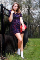 navy floral Forever 21 dress - ruby red thrifted coach bag - white mid calf Targ