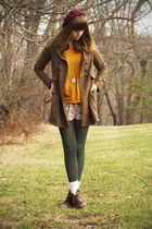 brown Nine West boots - ivory modcloth dress - brown Forever 21 coat