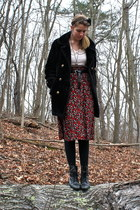 black crown vintage boots - ivory urban outiftters shirt - black thrifted skirt