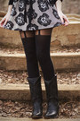 Black-vintage-boots-light-pink-topshop-dress-black-h-m-sweater