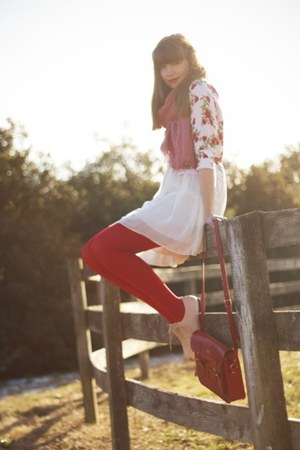 red Forever21 cardigan - ivory modcloth dress - red Target tights