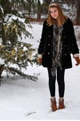 Brown-cowboy-boots-black-faux-fur-thrifted-coat-dark-green-h-m-skirt-brown