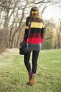 Charcoal-gray-modcloth-sweater-crimson-dr-martens-boots-black-dsw-purse