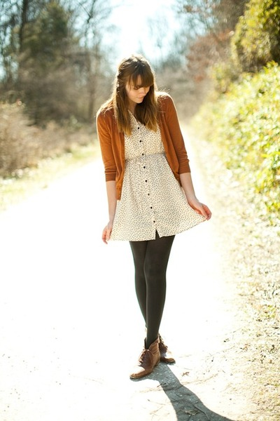 brown vintage boots - ivory H&M dress - burnt orange Forever 21 cardigan