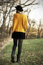 Black-dsw-boots-black-new-look-dress-black-vintage-hat-mustard-h-m-sweater
