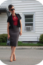 Smart Set skirt - garage top - Mexx cardigan - thrifted shoes - vintage purse -