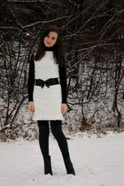 white Victorias Secret dress - black Colin Stuart boots - black Dynamite belt