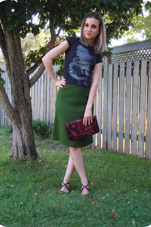vintage skirt - le chateau t-shirt - Aldo shoes - Smart Set purse