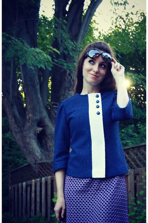 amethyst vintage dress - blue vintage blazer