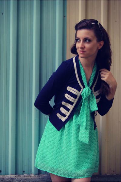aquamarine f21 dress - navy f21 cardigan
