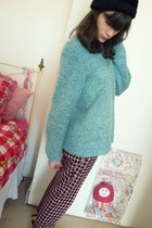 aquamarine vintage jumper - black Dr Martens boots - black thrifted hat