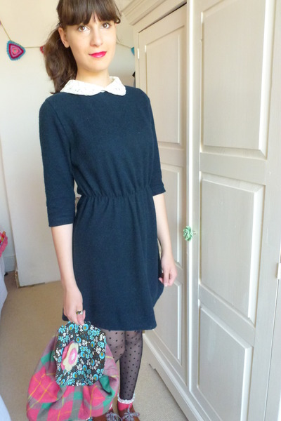vintage dress - H&amp;M shoes - spot dot Primark tights