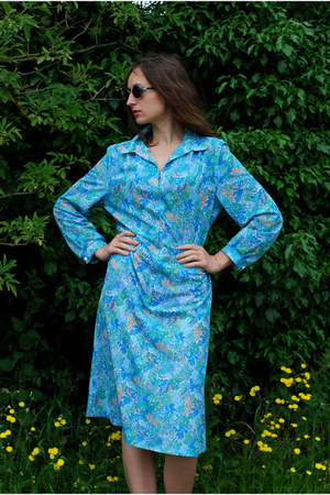 light blue David Ashton dress