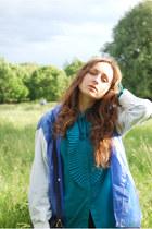 Turquoise-blue-vintage-70s-vintage-blouse