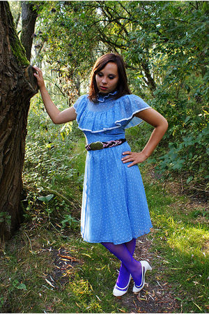 blue 70s vintage dress - purple 80s Vintage belt - purple 80s Vintage stockings